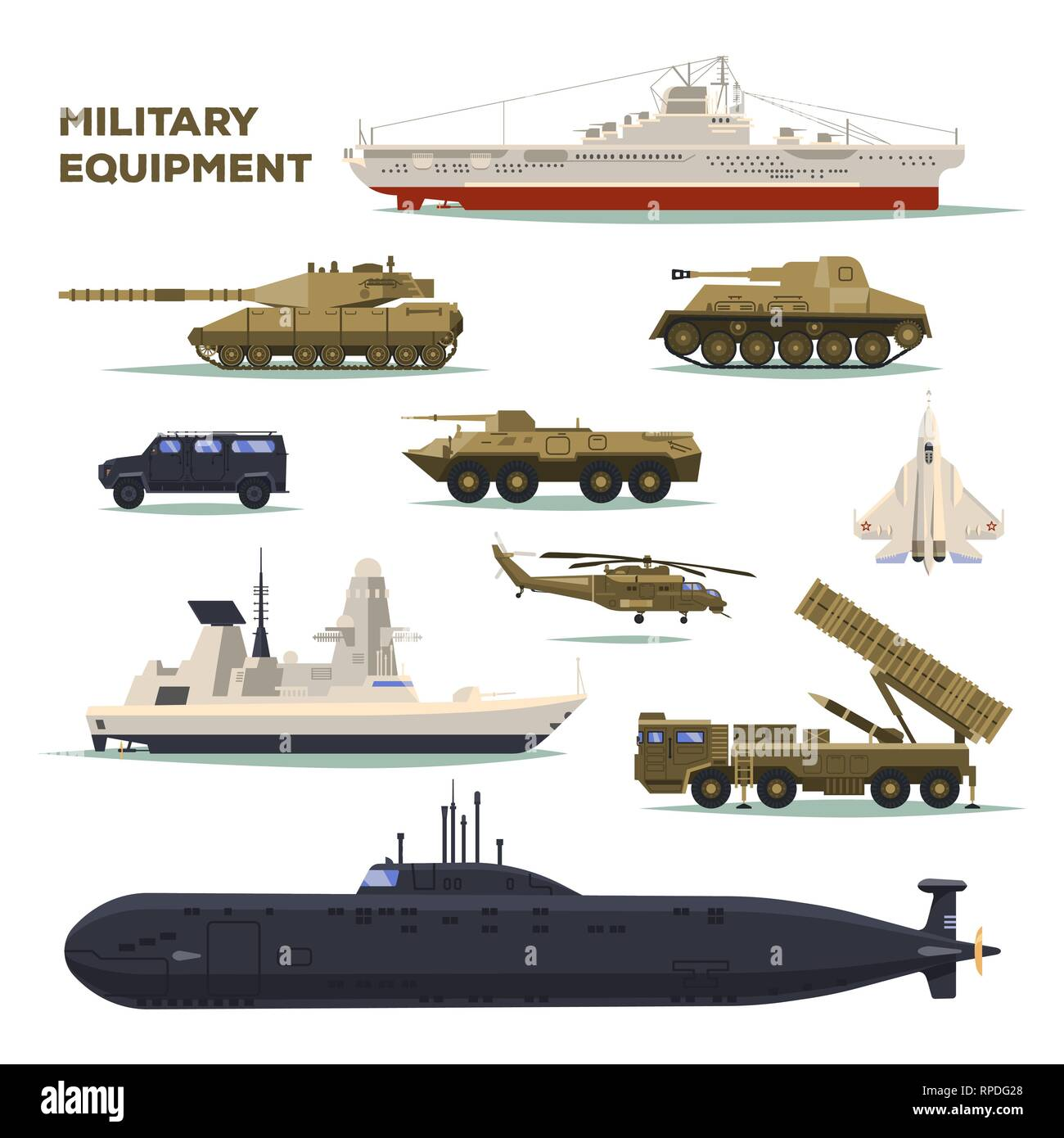 Set of isolated army or military vehicle,tank,ship - Stock Vector