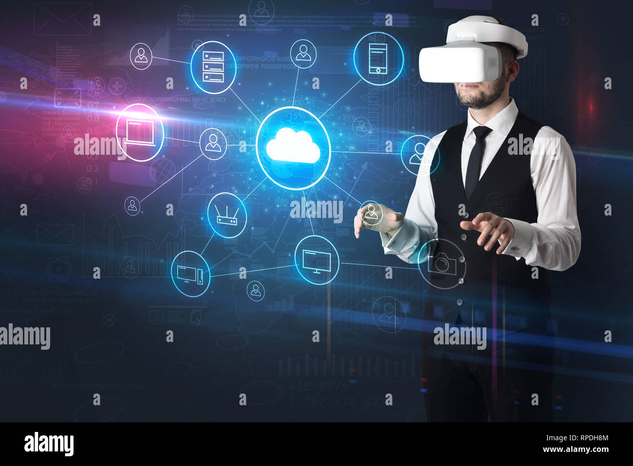Businessman in vr glasses organize lifesize projected social media concept  - Stock Image