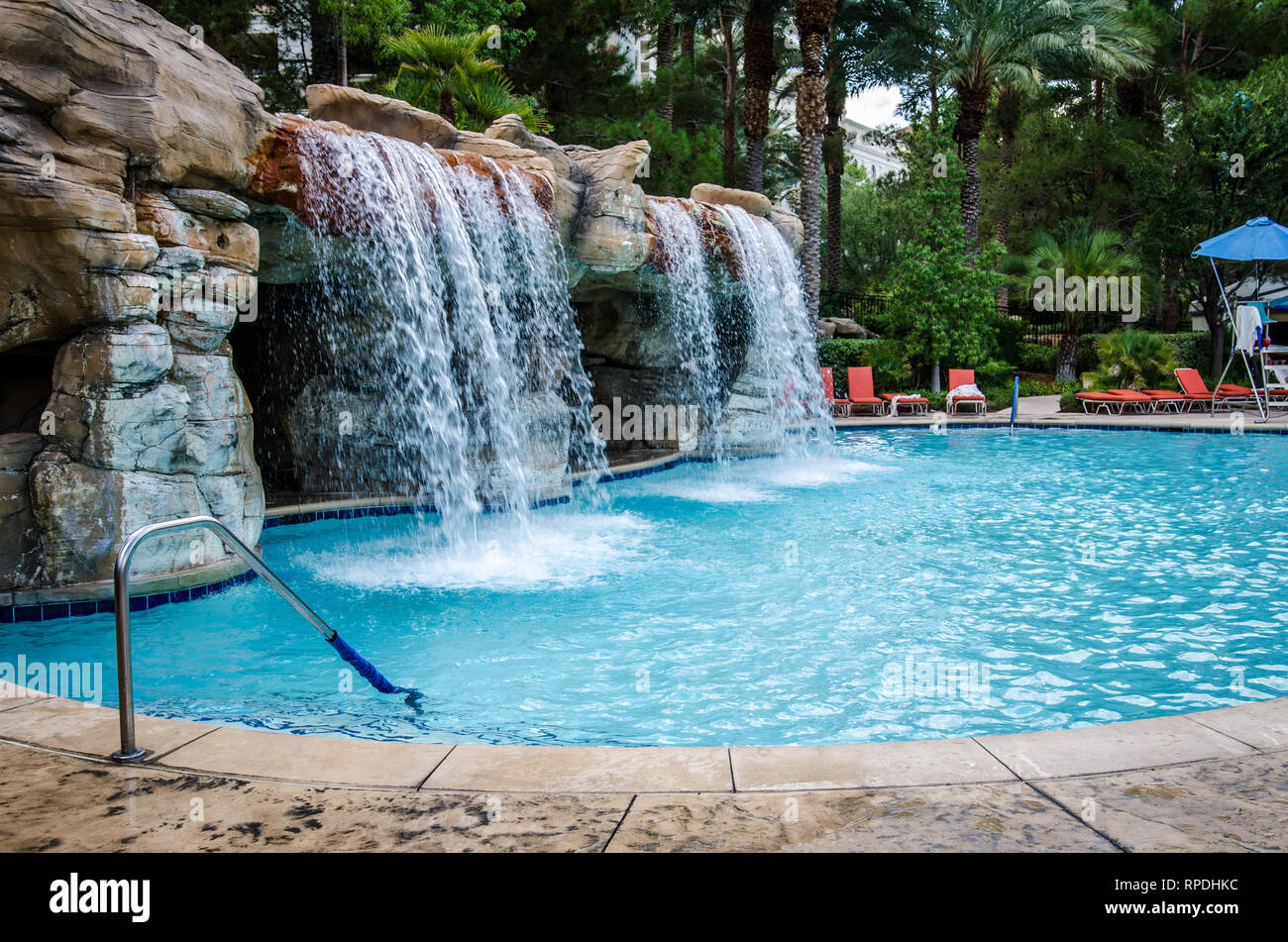 Las Vegas Nevada August 4 2018 Outdoor Tropical Pool Area At The Jw Marriott Hotel And Resort With A Waterfall Pool Stock Photo Alamy