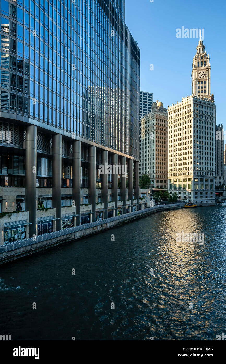 Wrigley Tower and Chicago River, Chicago, Illinois USA - Stock Image