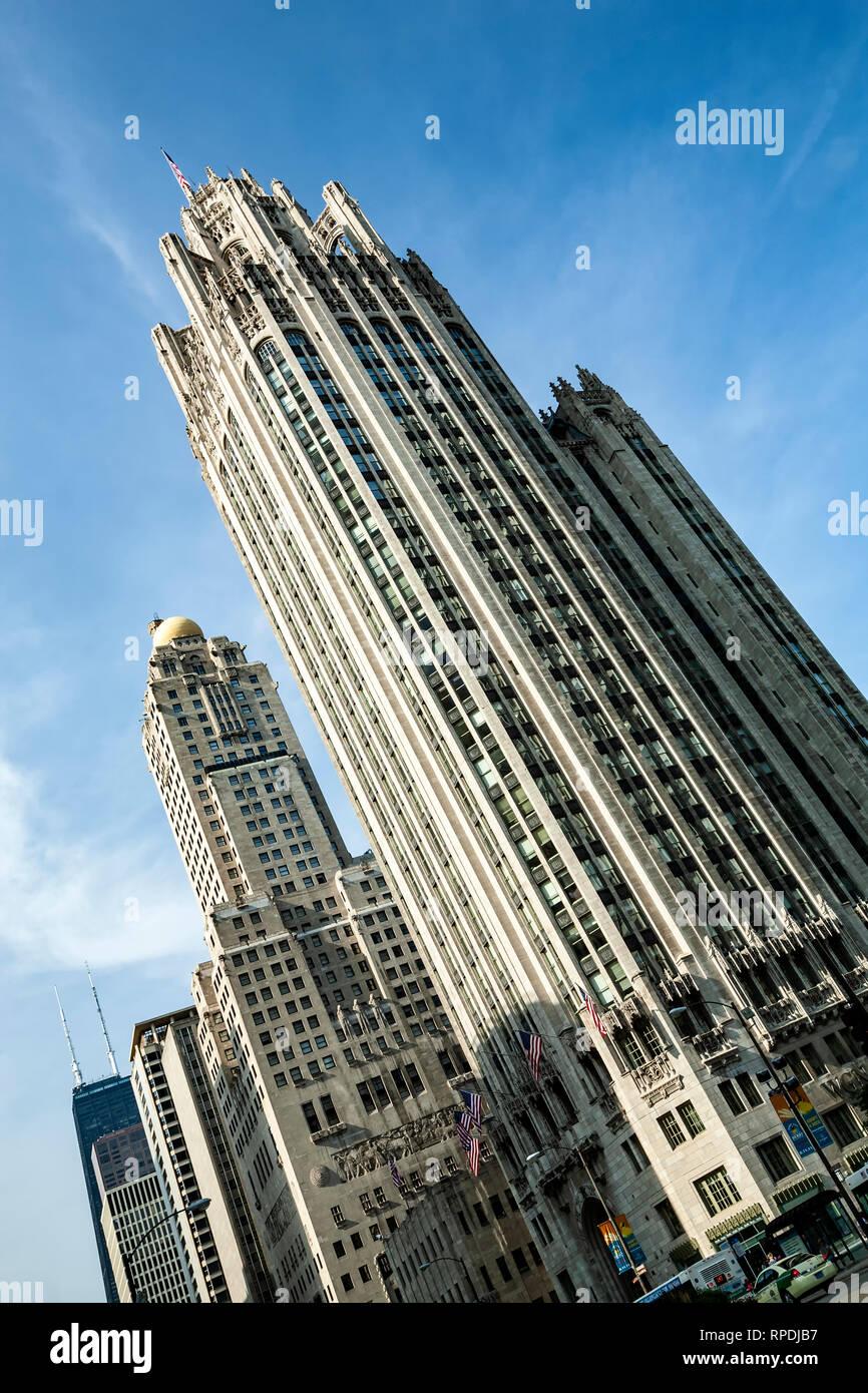 Chicago Tribune Tower, Chicago, Illinois USA - Stock Image