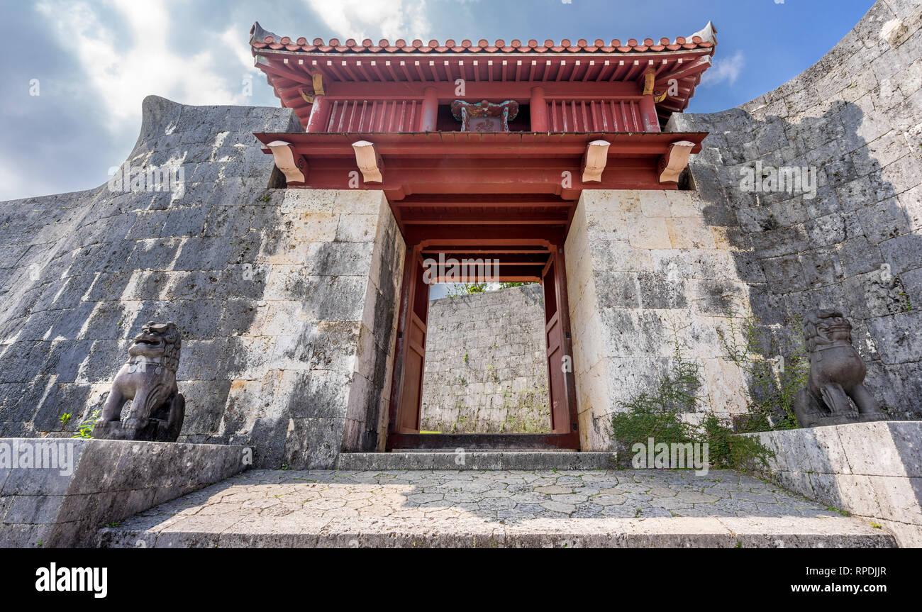 Naha, Japan. Okinawa, Shuri Castle (首里城). Zuisenmon Gate. UNESCO World Heritage Site - Stock Image