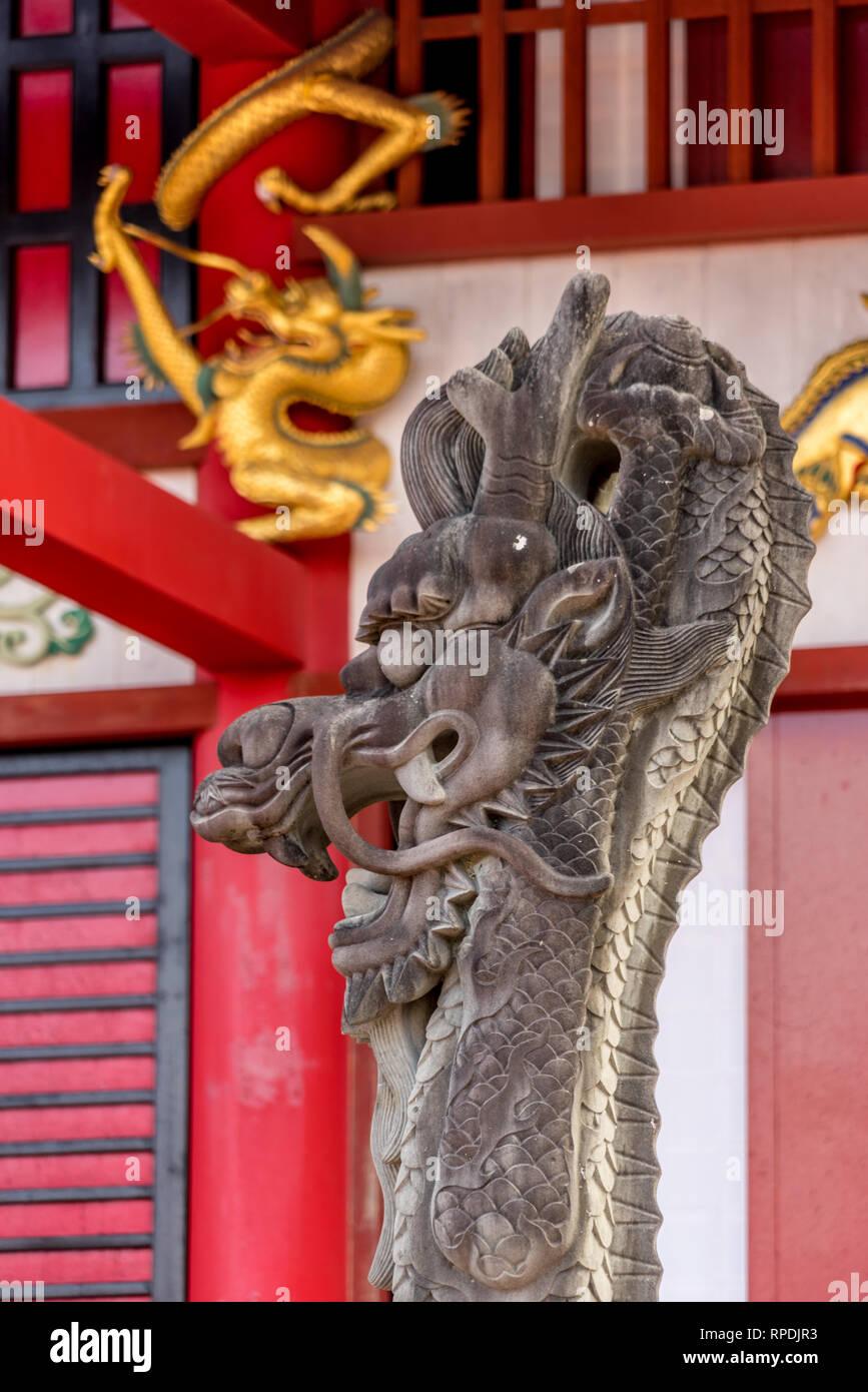 Okinawa, Shuri Castle (首里城). Seiden (正殿), Standing dragon. - Stock Image