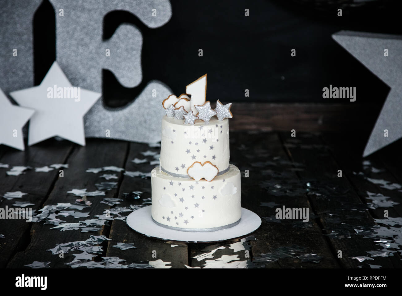 Excellent First Birthday White Cake With Stars And Candle For Little Baby Funny Birthday Cards Online Inifofree Goldxyz