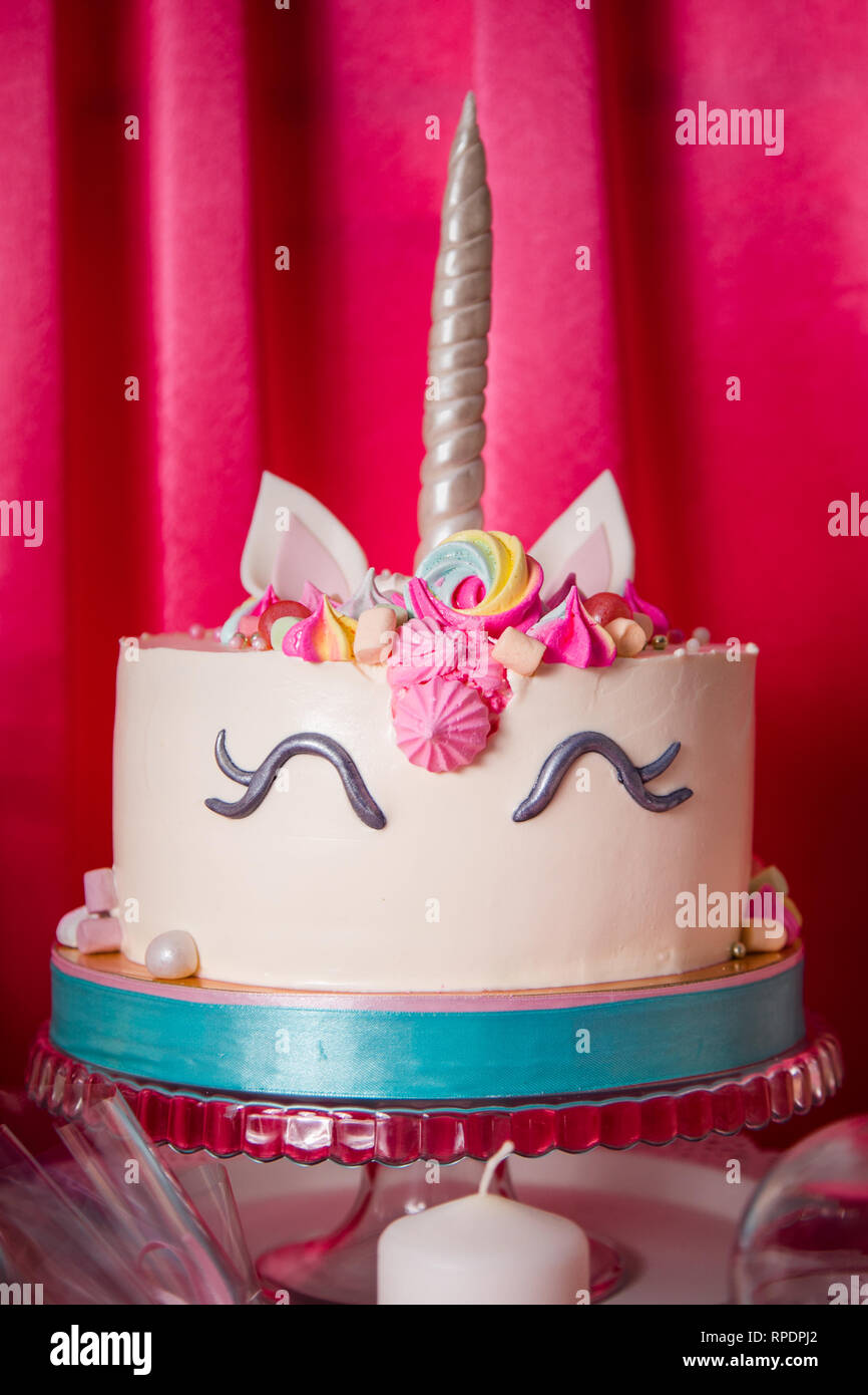 Sweet Table And Big Unicorn Cake For Baby Girl First Birthday
