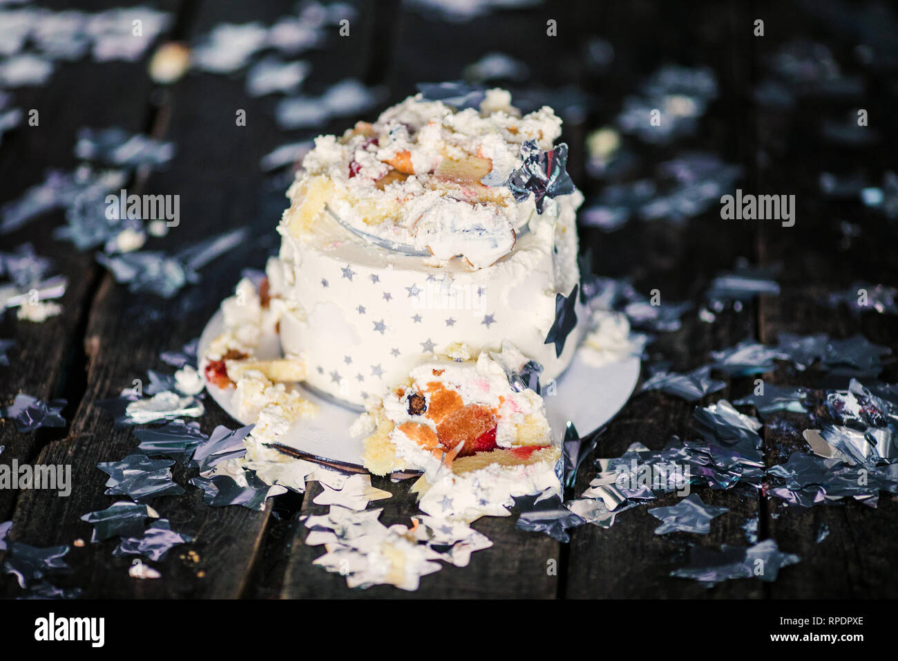 Smashed First Birthday White Cake With Stars And One Candle For Little Baby Boy Decorations Black Background