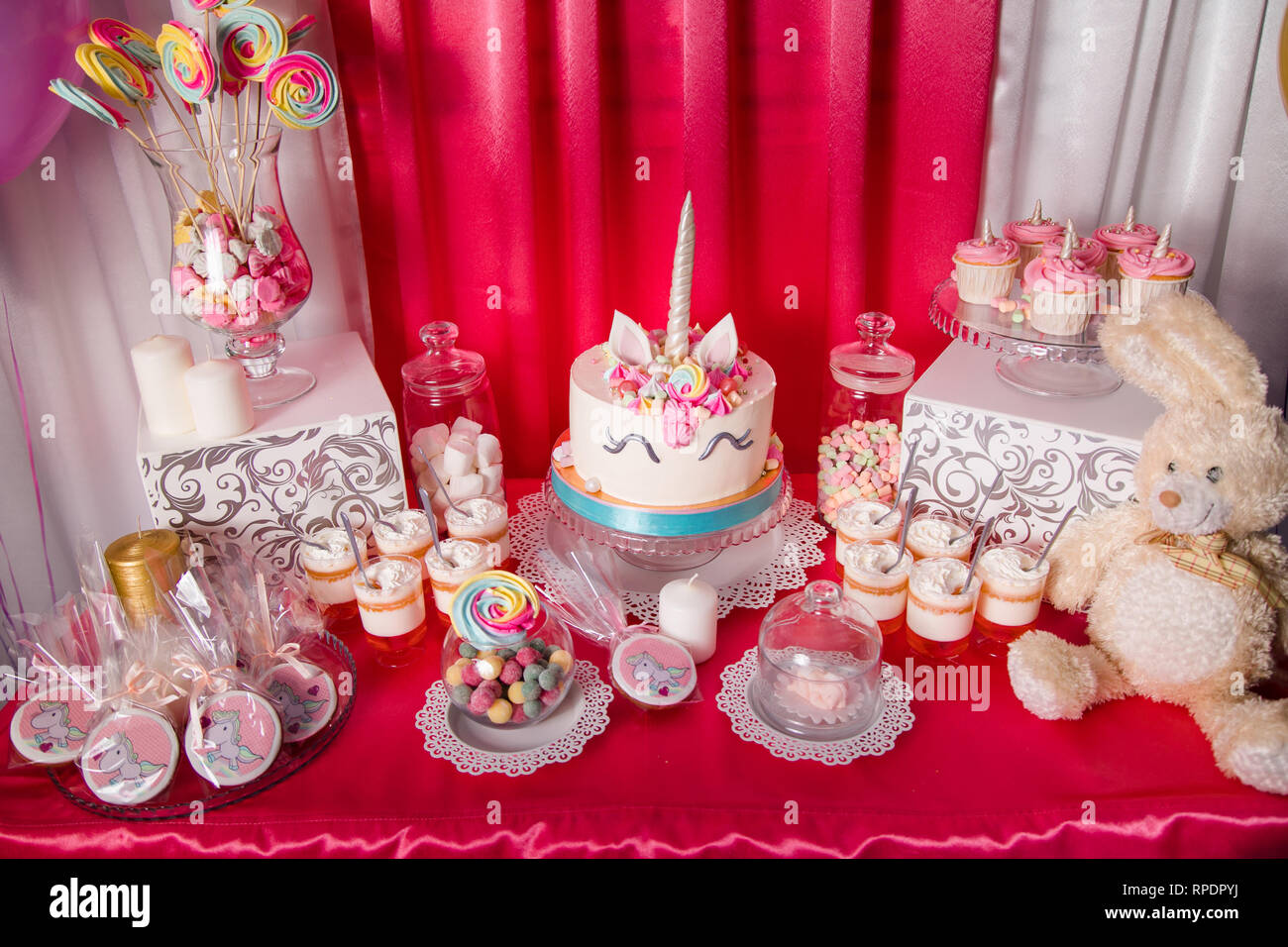 Pleasant Sweet Table And Big Unicorn Cake For Baby Girl First Birthday Funny Birthday Cards Online Bapapcheapnameinfo