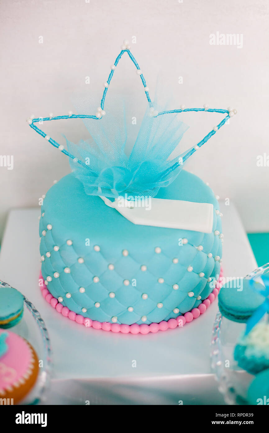 Miraculous Blue And Pink Birthday Cake With Pearls Big Crown For Little Baby Personalised Birthday Cards Veneteletsinfo