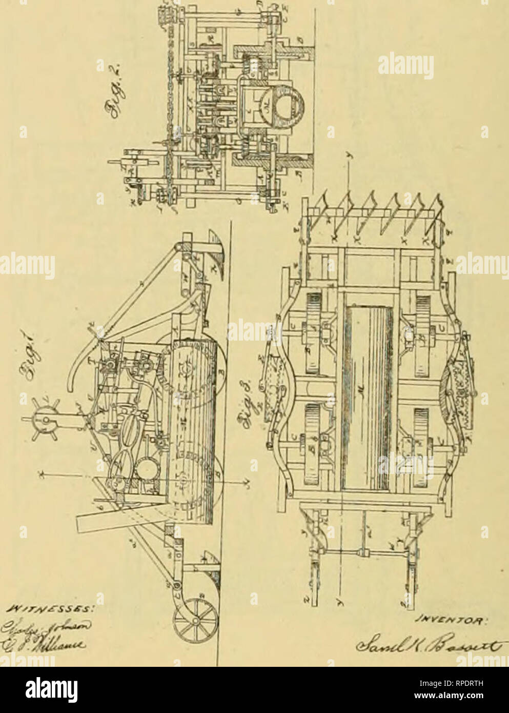 . Allen's digest of plows, with attachments, patented in the United States from A.D. 1789 to January 1883 ... Plows; Patents. !1 K BA8SETT Steam-Plow, No. 22.848 Patented F*>b. 8, 18&!). J, W. GOODELL. Ste^m-Plow. J, HAWKINS. Steara-Plow Patented Apr. 26, 1859 Patented Oct 18, 1859 J-^.2.. Please note that these images are extracted from scanned page images that may have been digitally enhanced for readability - coloration and appearance of these illustrations may not perfectly resemble the original work.. Allen, James T. (James Titus). [Washington, D. C. , Joseph Bart, Printer - Stock Image