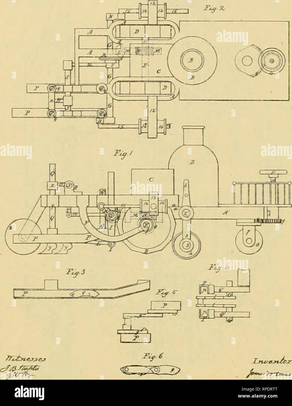 . Allen's digest of plows, with attachments, patented in the United States from A.D. 1789 to January 1883 ... Plows; Patents. 1002 STEAM.. !1 K BA8SETT Steam-Plow, No. 22.848 Patented F*>b. 8, 18&!). Please note that these images are extracted from scanned page images that may have been digitally enhanced for readability - coloration and appearance of these illustrations may not perfectly resemble the original work.. Allen, James T. (James Titus). [Washington, D. C. , Joseph Bart, Printer - Stock Image