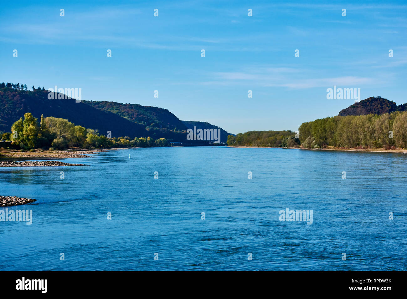 view to the river rhine and the landscape on a sunny day in Andernach, Germany - Stock Image