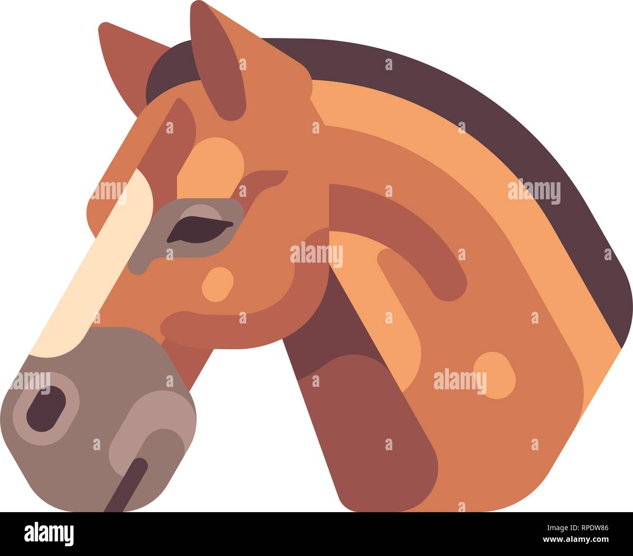 Brown horse head side view flat icon - Stock Vector