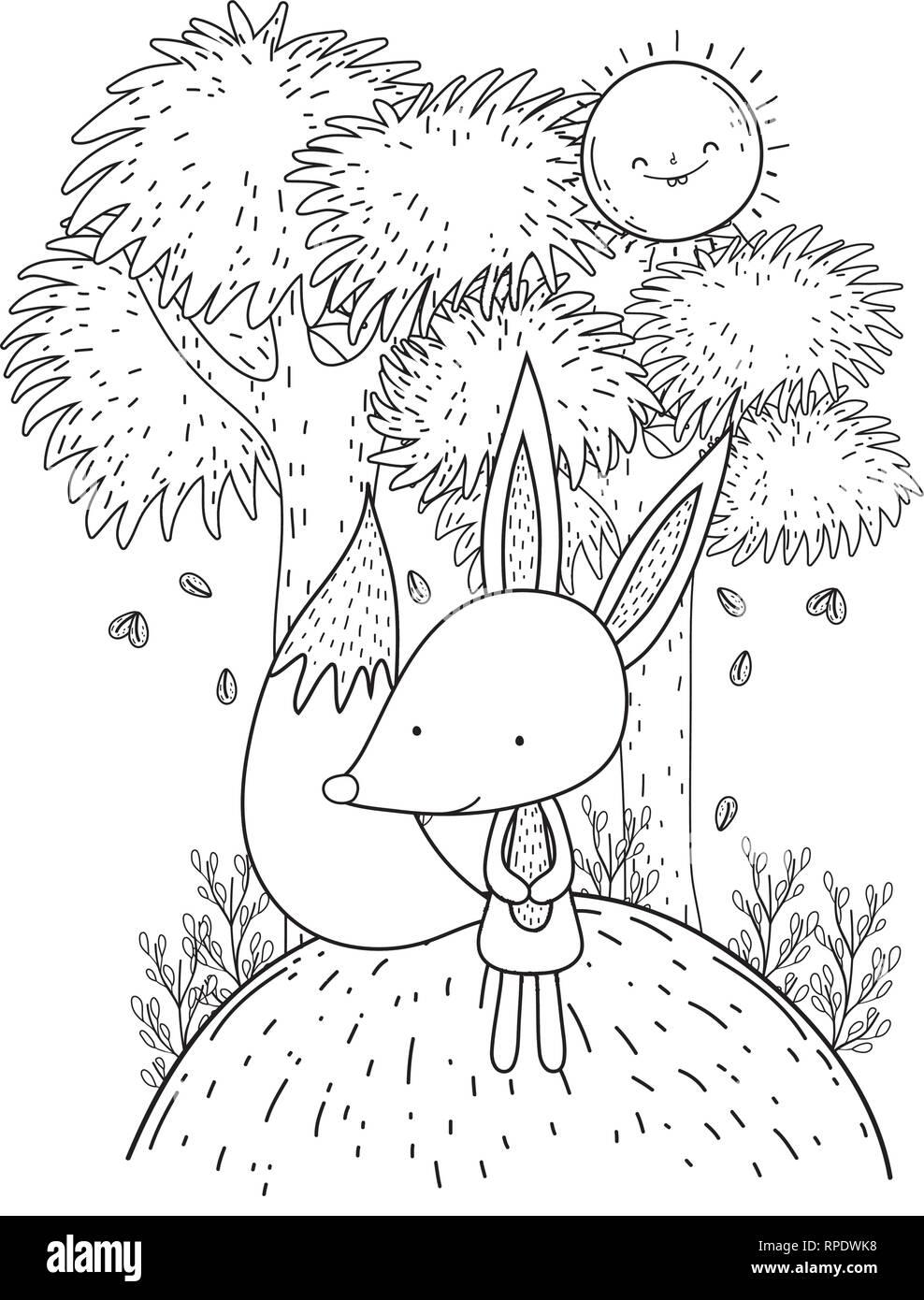 little fox with sun kawaii in the landscape - Stock Vector