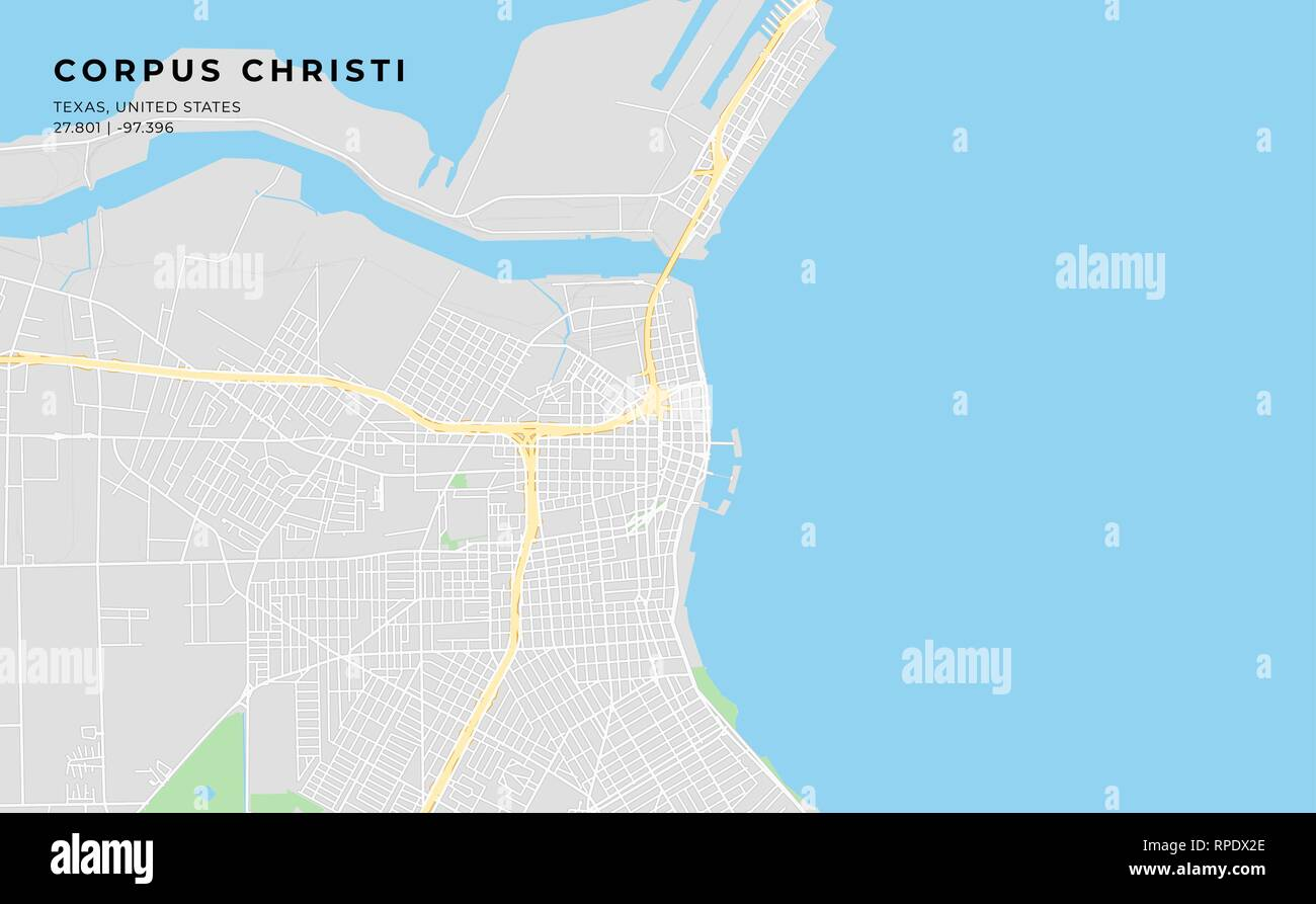 Printable streetmap of Corpus Christi including highways, major roads, minor roads and bigger railways. The name of the city and the geographic data a - Stock Vector