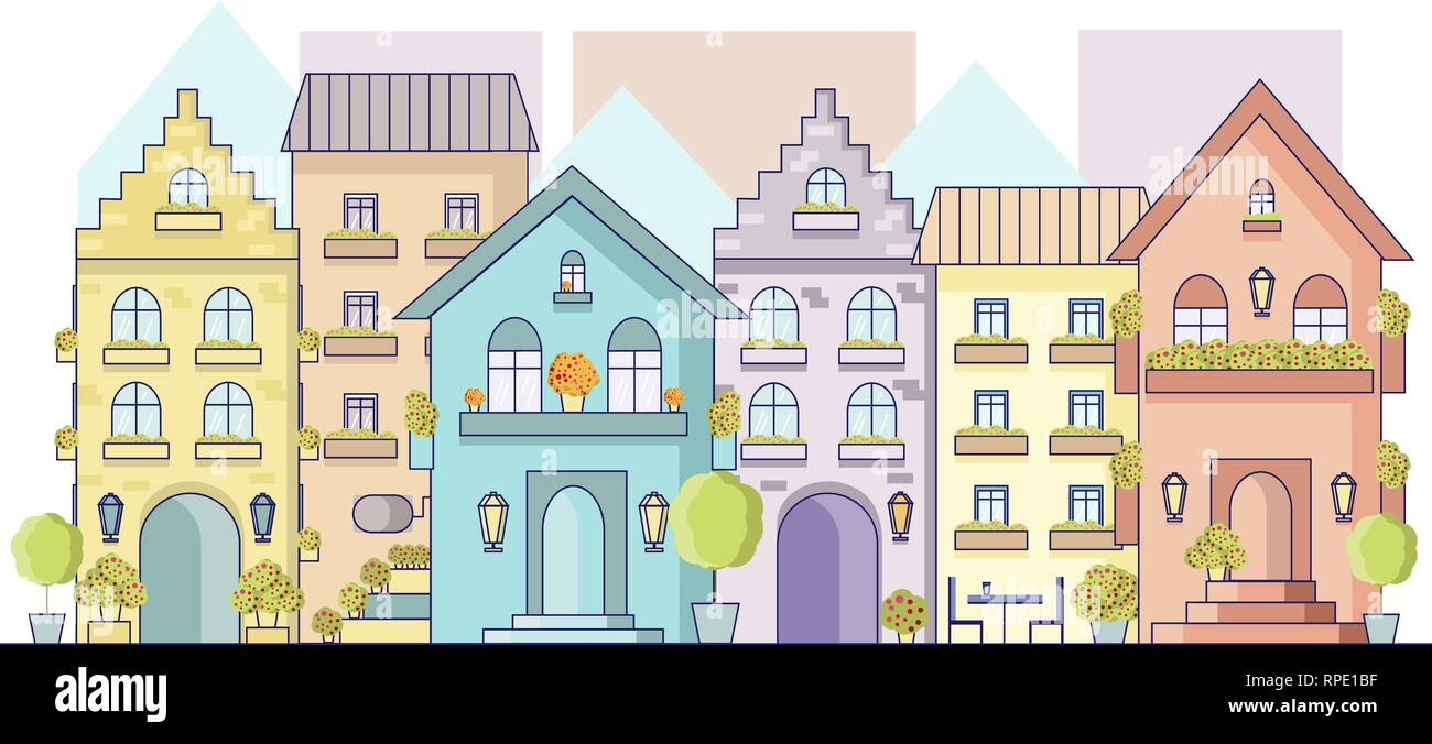 Vector cityscape of old europe street in flat style. View on facades of europe buildings - Stock Vector