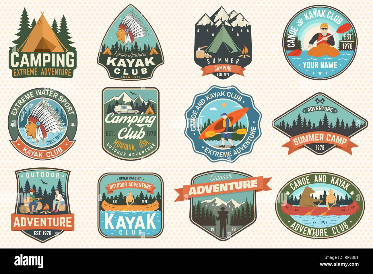 Set of summer camp, canoe and kayak club badges. Vector. Concept for patch, stamp. Retro design with camping, mountain, river, american indian and kayaker silhouette. Extreme water sport kayak patches - Stock Image