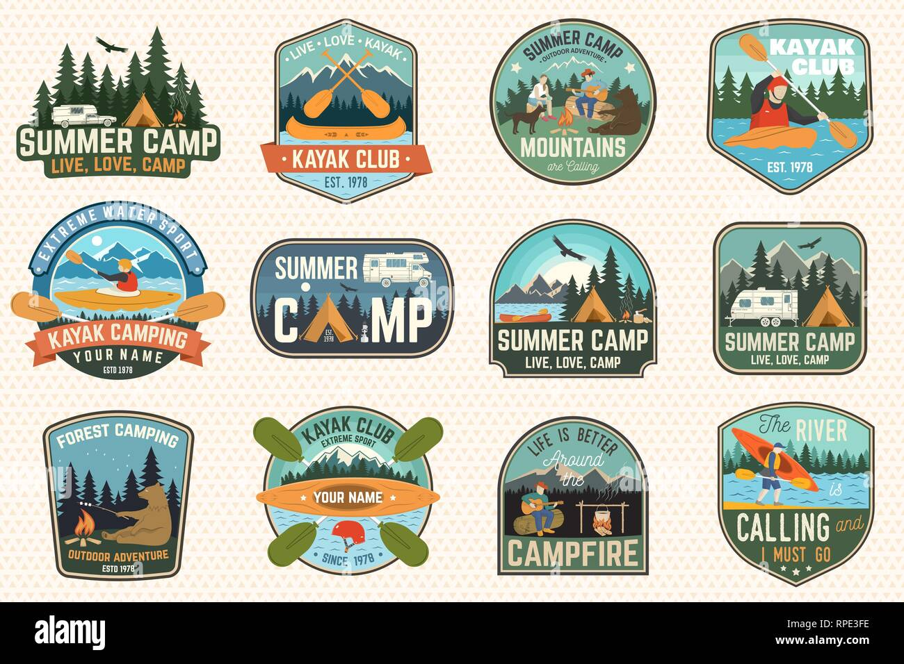 Set of summer camp, canoe and kayak club badges. Vector. For patch, stamp. Design with camping, mountain, river, american indian and kayaker silhouette. Extreme camp and water sport kayak patches - Stock Vector