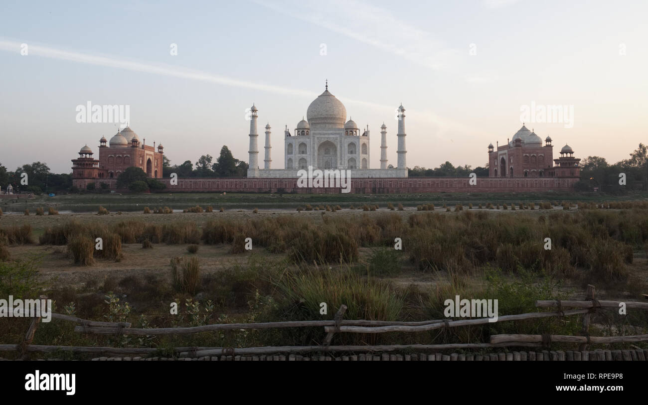 Taj Mahal is no longer reflected in the Yamuna River. The river is nearly dry and filled with sewage, threatening the mausoleum's foundation. - Stock Image
