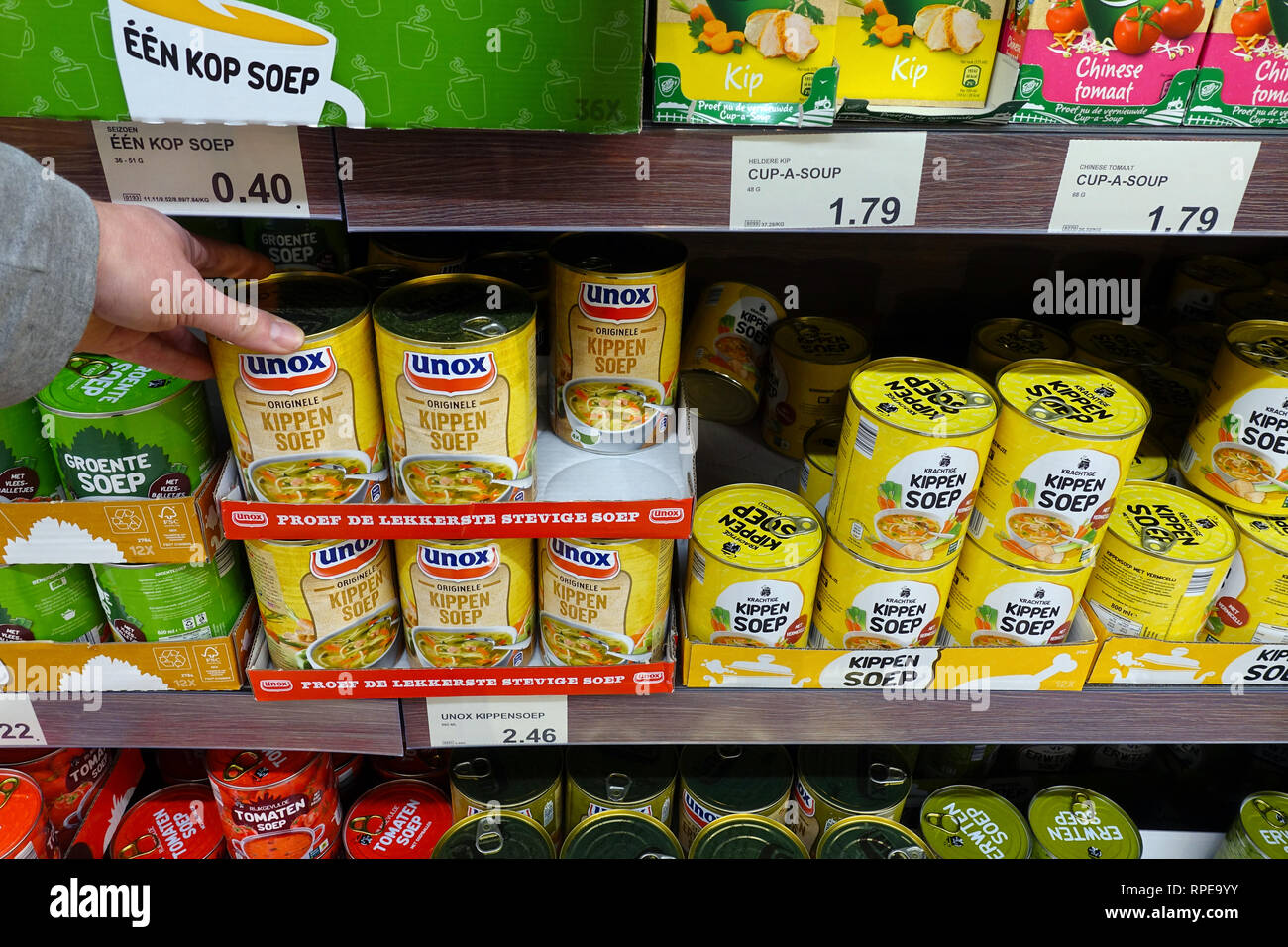Canned soup in a ALDI supermarket. - Stock Image
