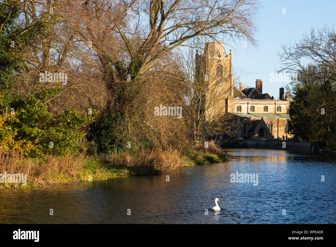 St James church on the River Great Ouse at Hemingford Grey Cambridgeshire England UK - Stock Image