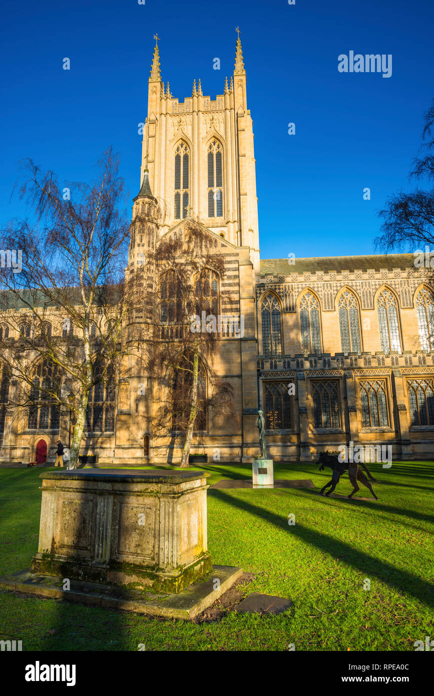 St Edmundsbury Cathedral is the cathedral for the Church of England's Diocese of St Edmundsbury and Ipswich. Bury St Edmunds, Suffolk, East Anglia, UK - Stock Image