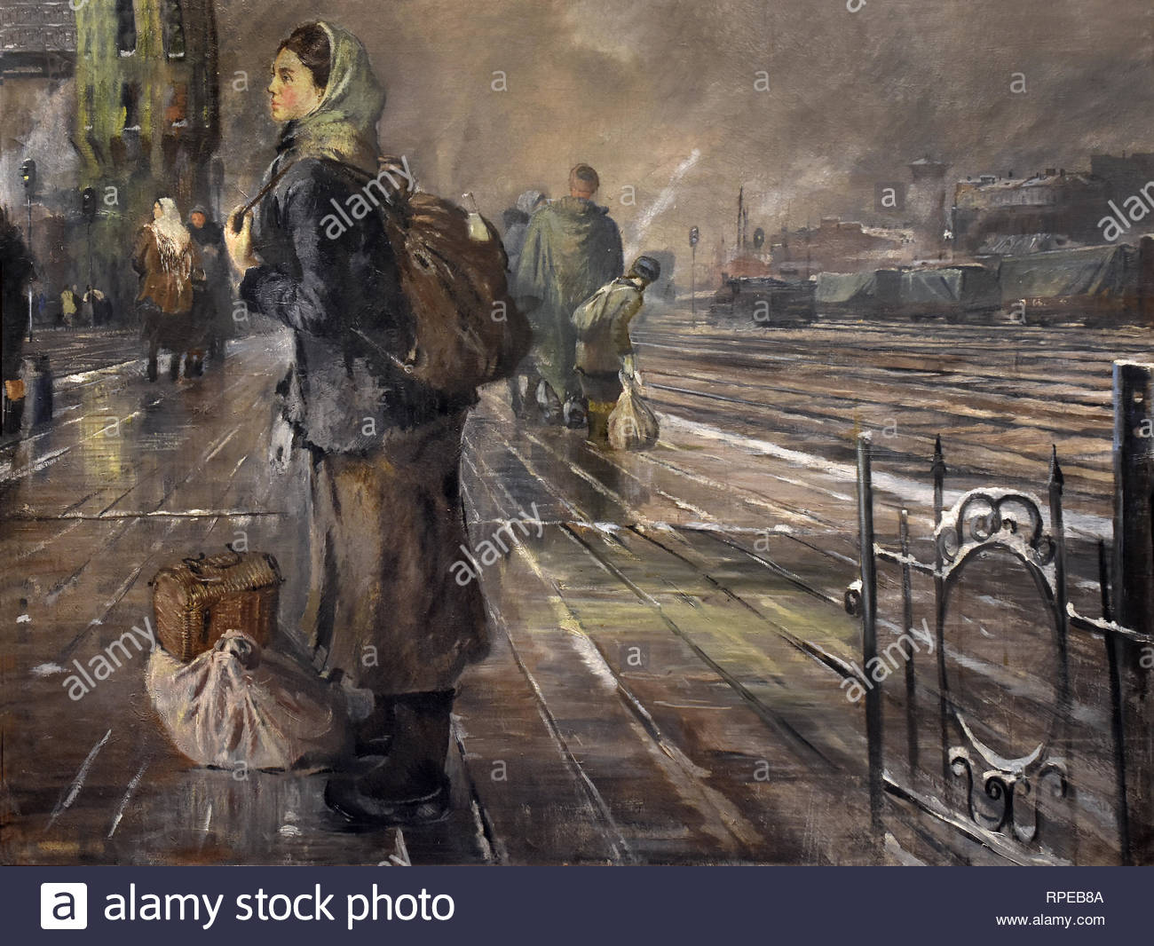 Autumn Station 1945 Yuri Pimenov. Soviet Union Communist Propaganda (Russia under Lenin and Stalin 1921-1953 ). - Stock Image