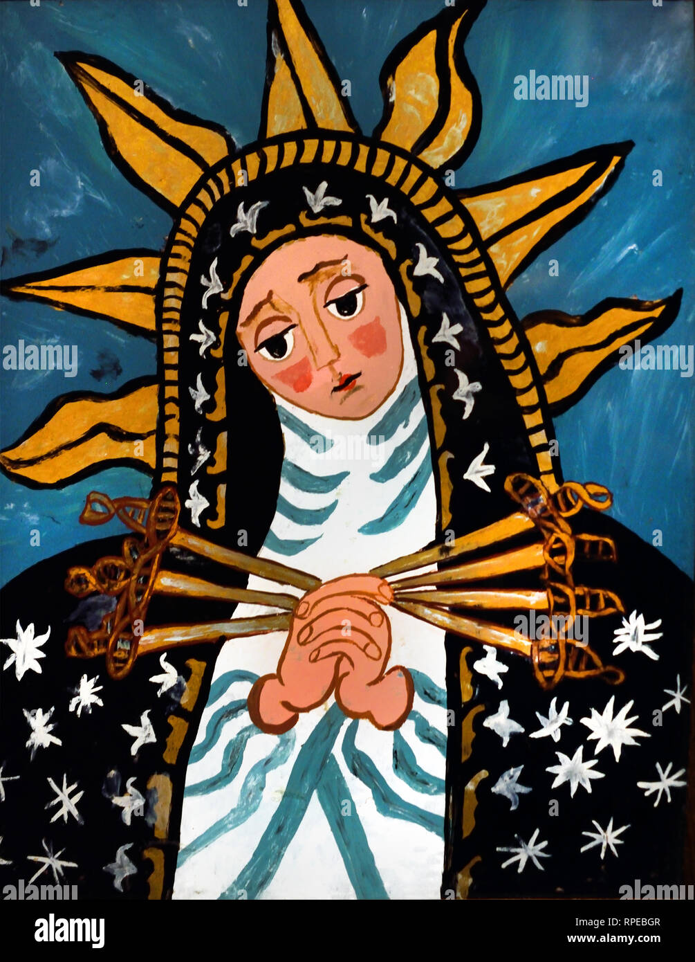 Our Lady of Sorrows 19th Century Andalucia, Spain, Spanish, (painted glass) Stock Photo