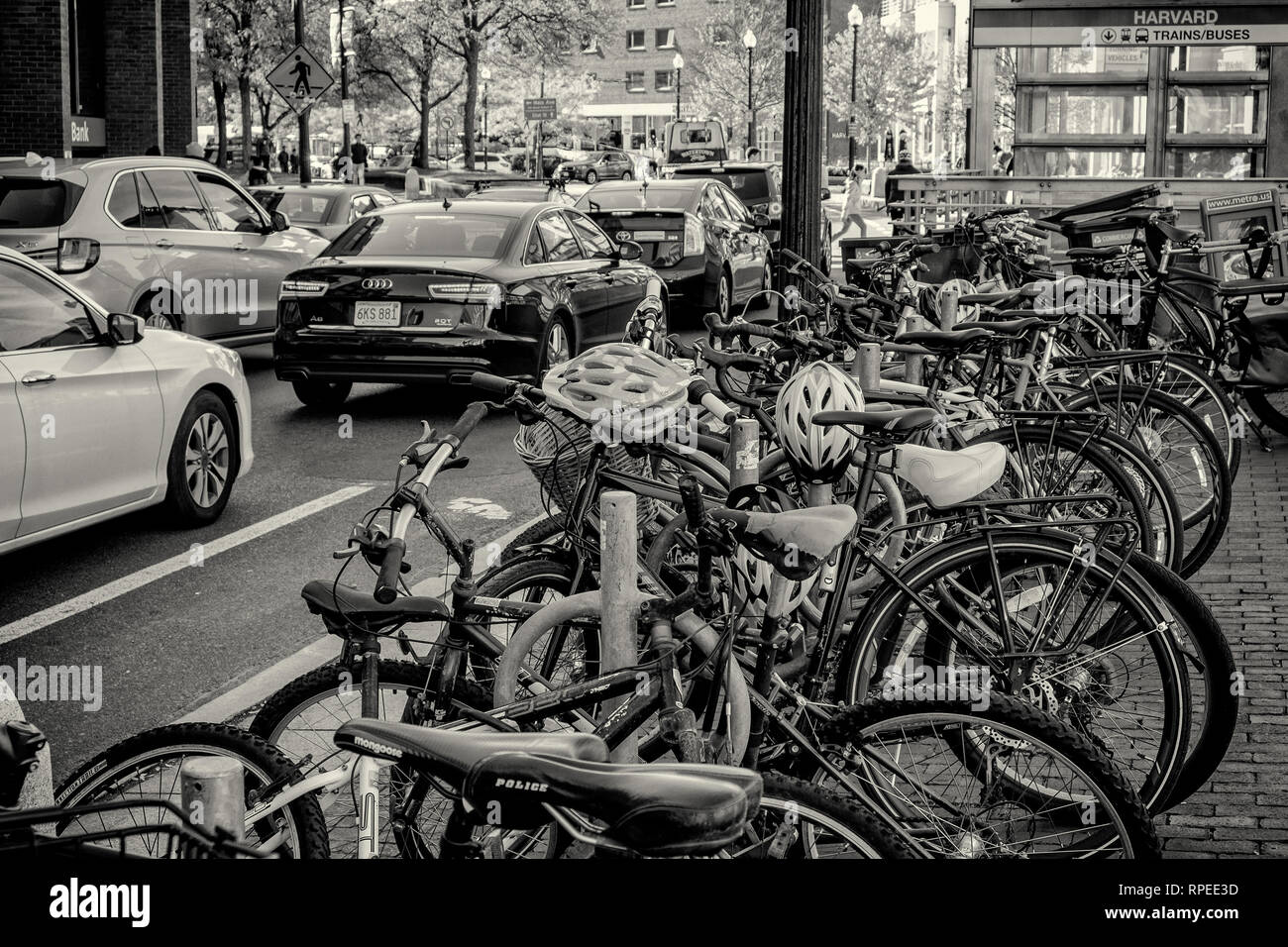 Heavy traffic congestion in Harvard Square in Cambridge, MA - Stock Image