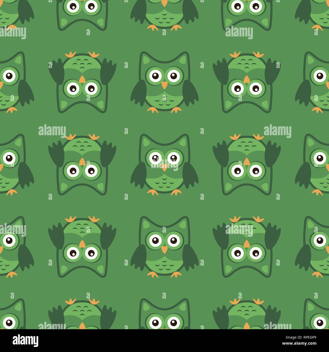 Owl stylized art seemless pattern green colors - Stock Vector