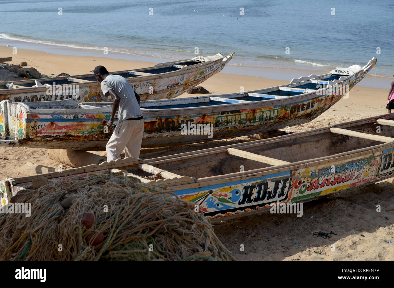 Pirogues used in the artisanal Sardinella fishery in Senegal, Western Africa Stock Photo
