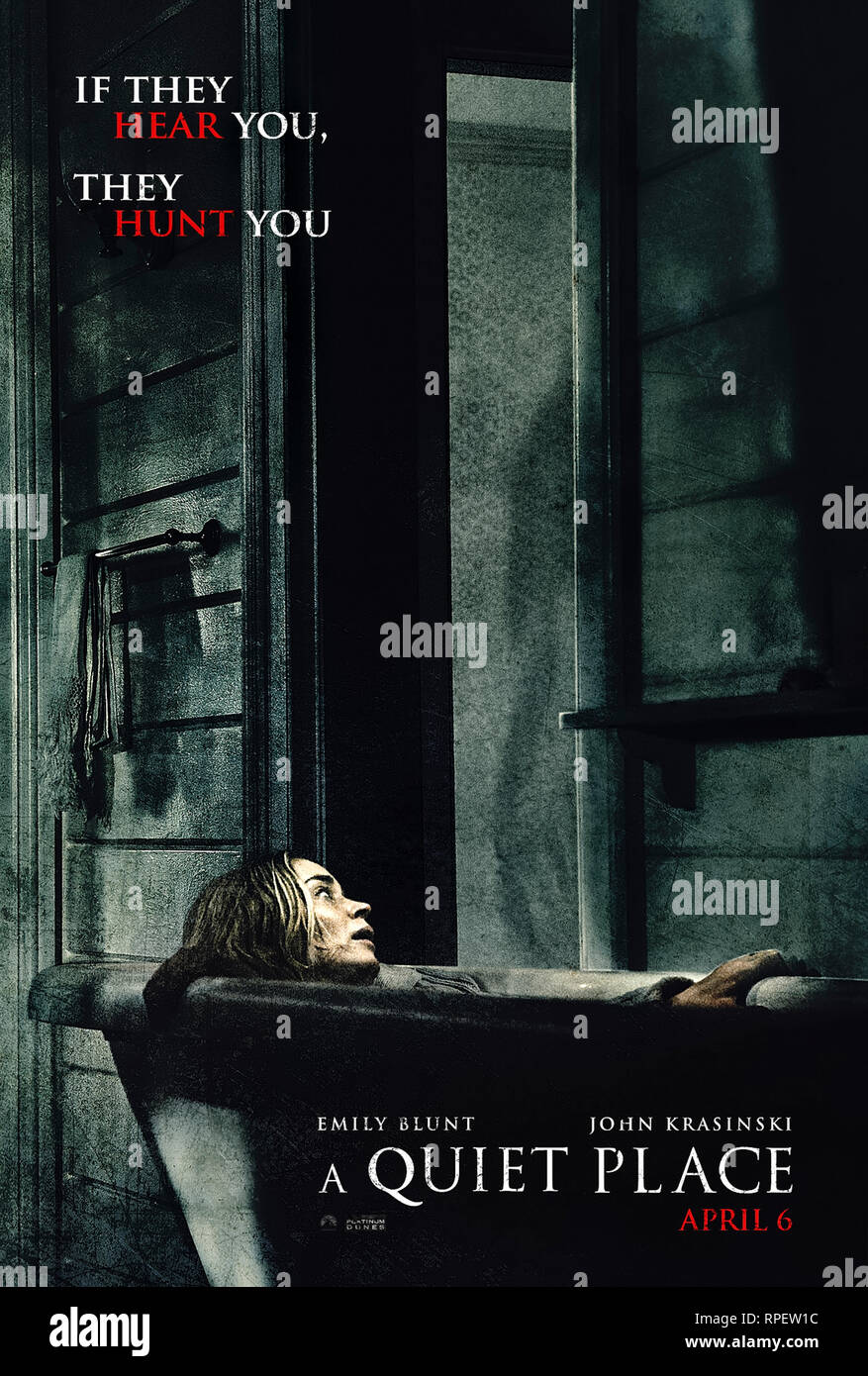 A Quiet Place (2018) directed by John Krasinski and starring Emily Blunt, John Krasinski and Millicent Simmonds. - Stock Image