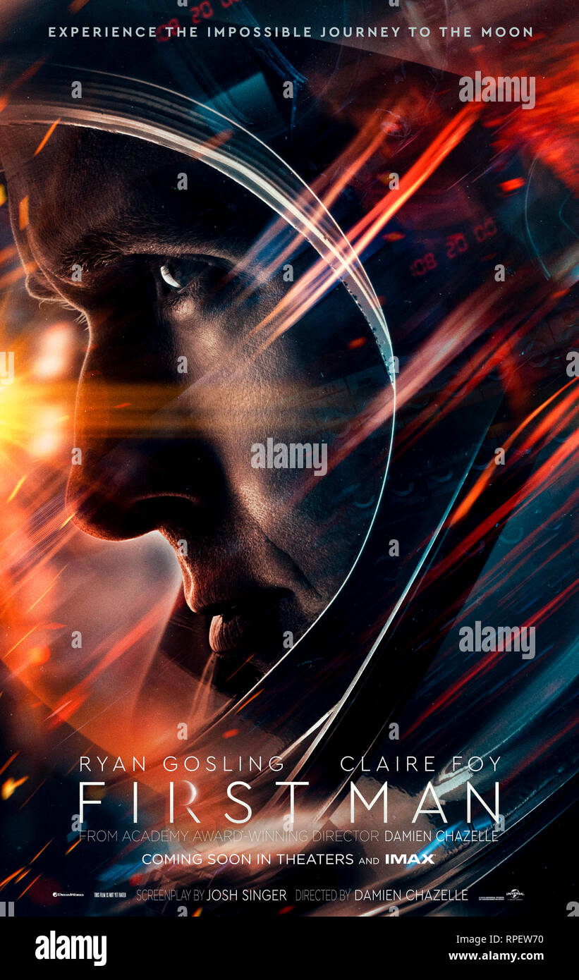 First Man (2018) directed by Damien Chazelle and starring Ryan Gosling, Claire Foy and Jason Clarke. Biopic about Neil Armstrong and the mission that took him to the moon. Stock Photo