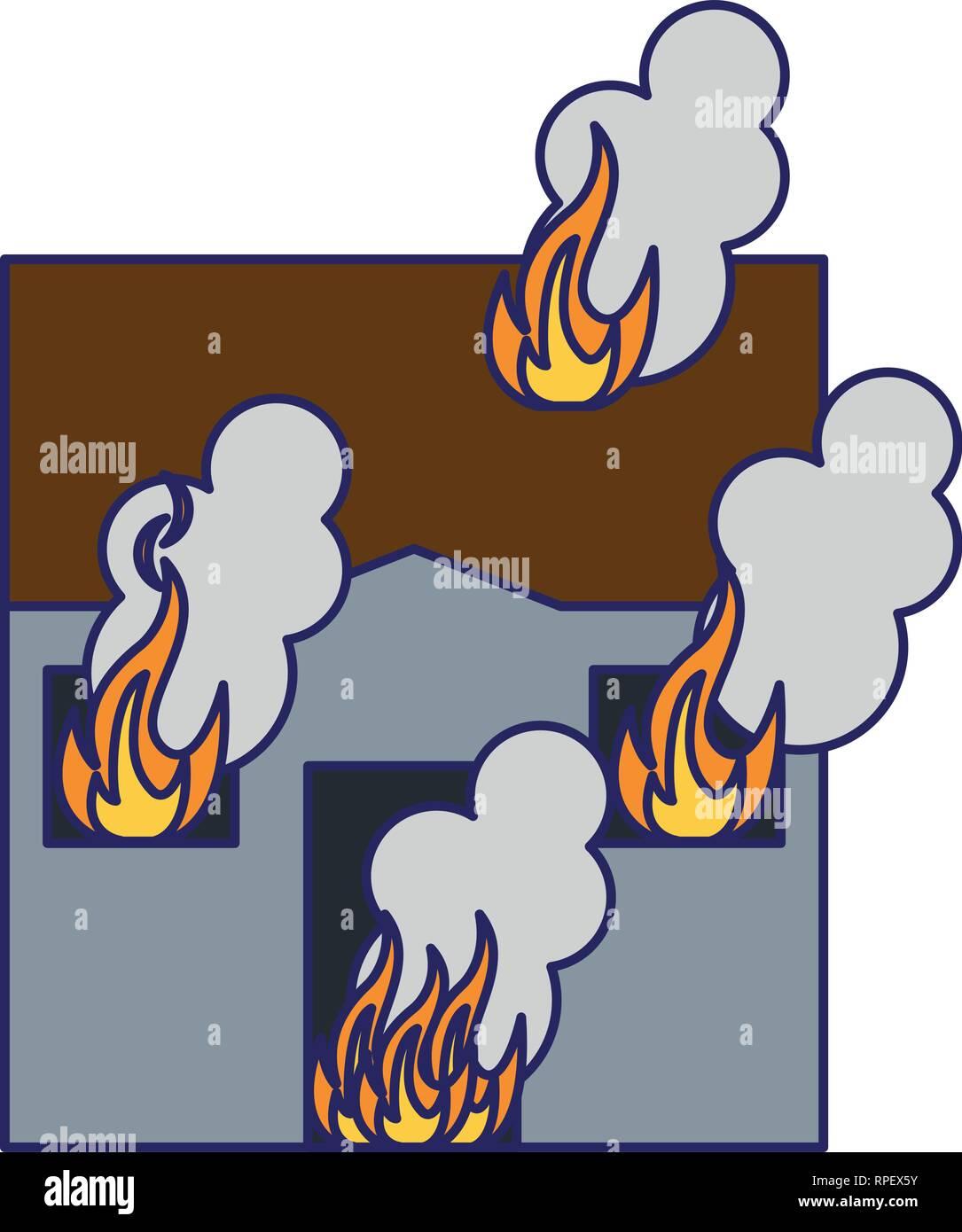 House In Fire Cartoon Blue Lines Stock Vector Art Illustration