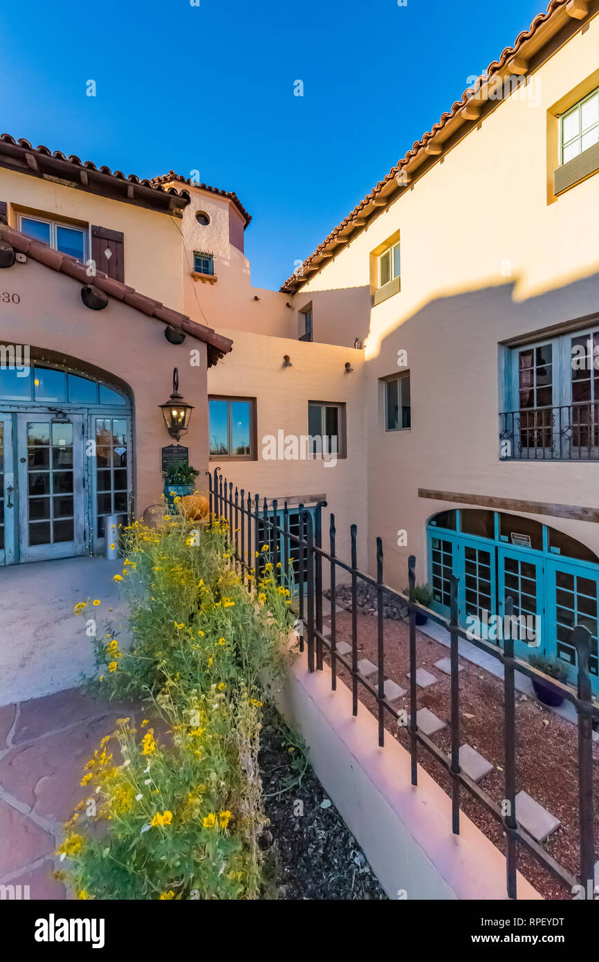The gardens of La Posada, a hotel designed by Mary Elizabeth Jane Colter as a Harvey House along Historic Route 66 in Winslow, Arizona, USA  [No prope Stock Photo
