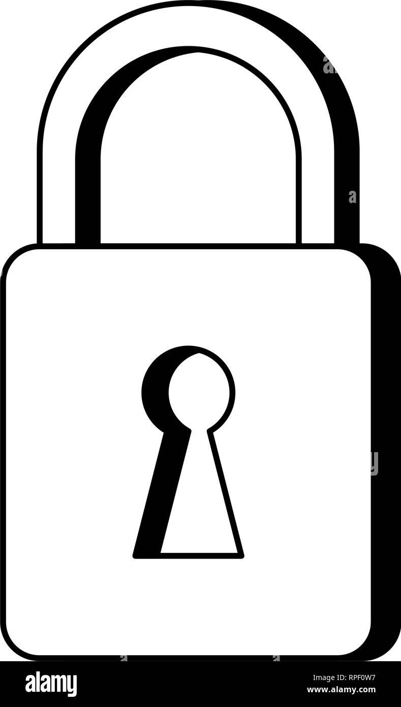 padlock security system symbol black and white - Stock Image