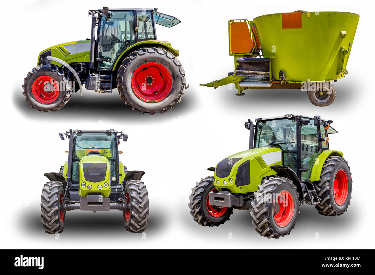 Powerful tractor and distributor of feed. General view, side view and front view. Necessary equipment for a dairy farm. Four isolated images. - Stock Image
