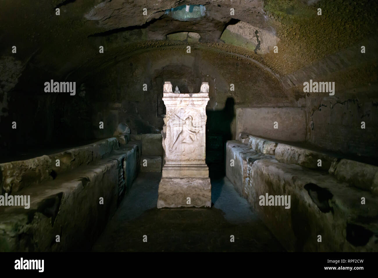 ROME - Temple dedicated to the Roman god Mithras, hidden underneath the church of Saint Clement. - Stock Image