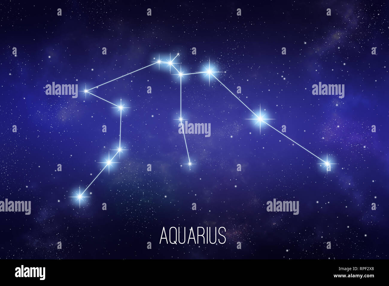 Aquarius zodiac constellation on a starry space background with lettering - Stock Image