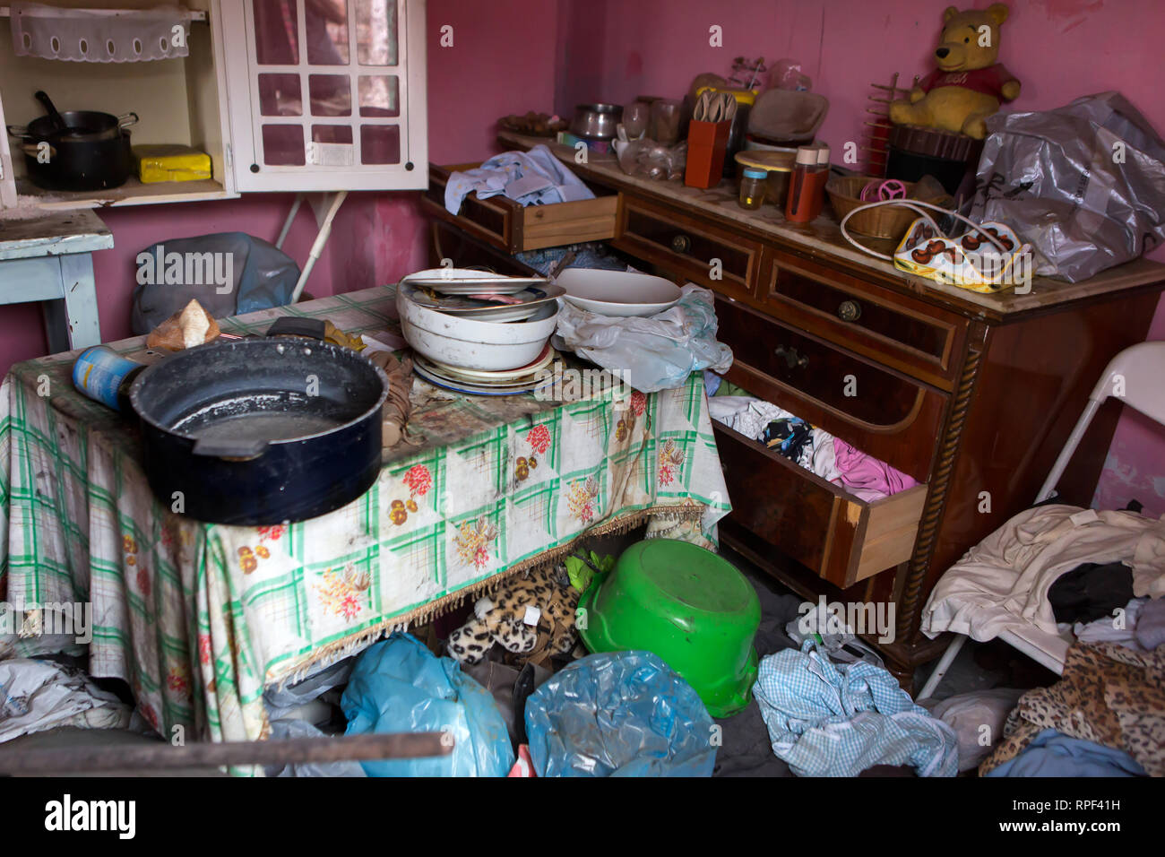 NAPLES - Dirty mess in an appartment in the center that was squatted by homeless people. - Stock Image