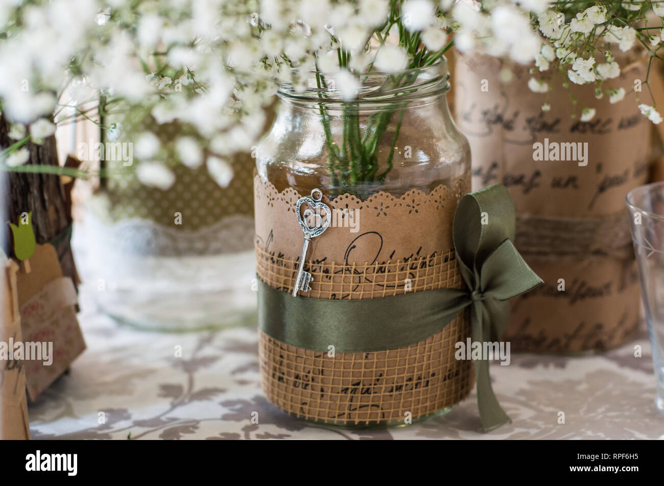 Wedding Decoration For Table White Flowers In The Glass Jar Plate