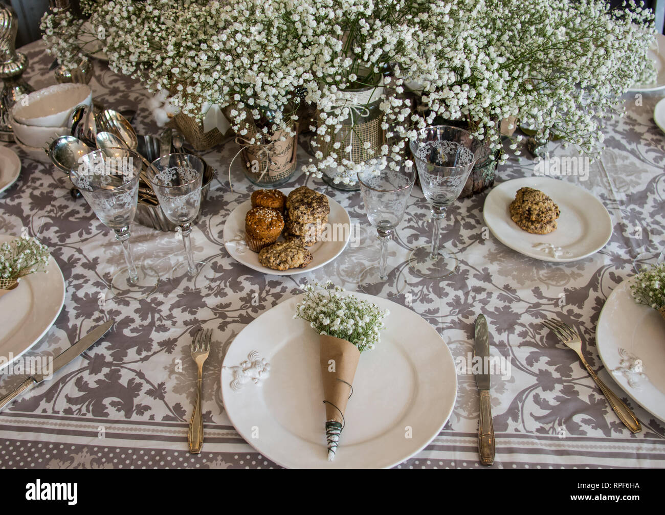 Wedding Decoration For Table Bouquet Of White Flowers In The Glass