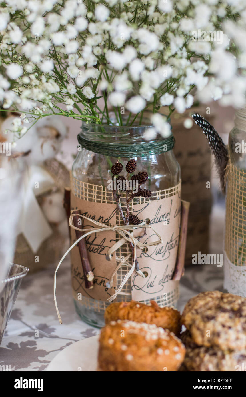 Cookies On The Wedding Table Decoration With Bouquet Of White