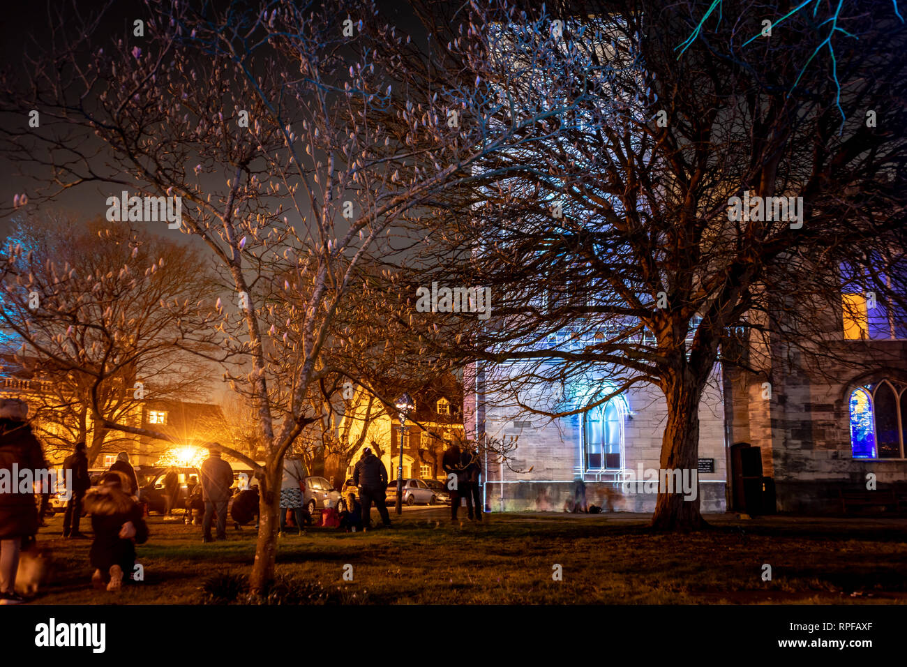 Poole, UK. 21st Feb, 2019. Poole, Dorset. 21st February 2019. Hundreds of visitors head to Poole Quay and town centre to see the light and art installations as part of the 'Light Up Poole' arts festival. Lottery and Arts Council England funded, the free night time event carries on until the 23rd February in Poole. Credit: Thomas Faull/Alamy Live News Stock Photo