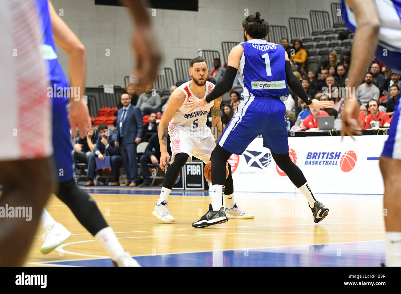 Manchester, UK. 21st Feb, 2019. Team GB Men's Basketball team beat Cyprus 84-47 at the National Basketball Performance Centre, Manchester, UK. Credit: JS Sport Photography/Alamy Live News - Stock Image