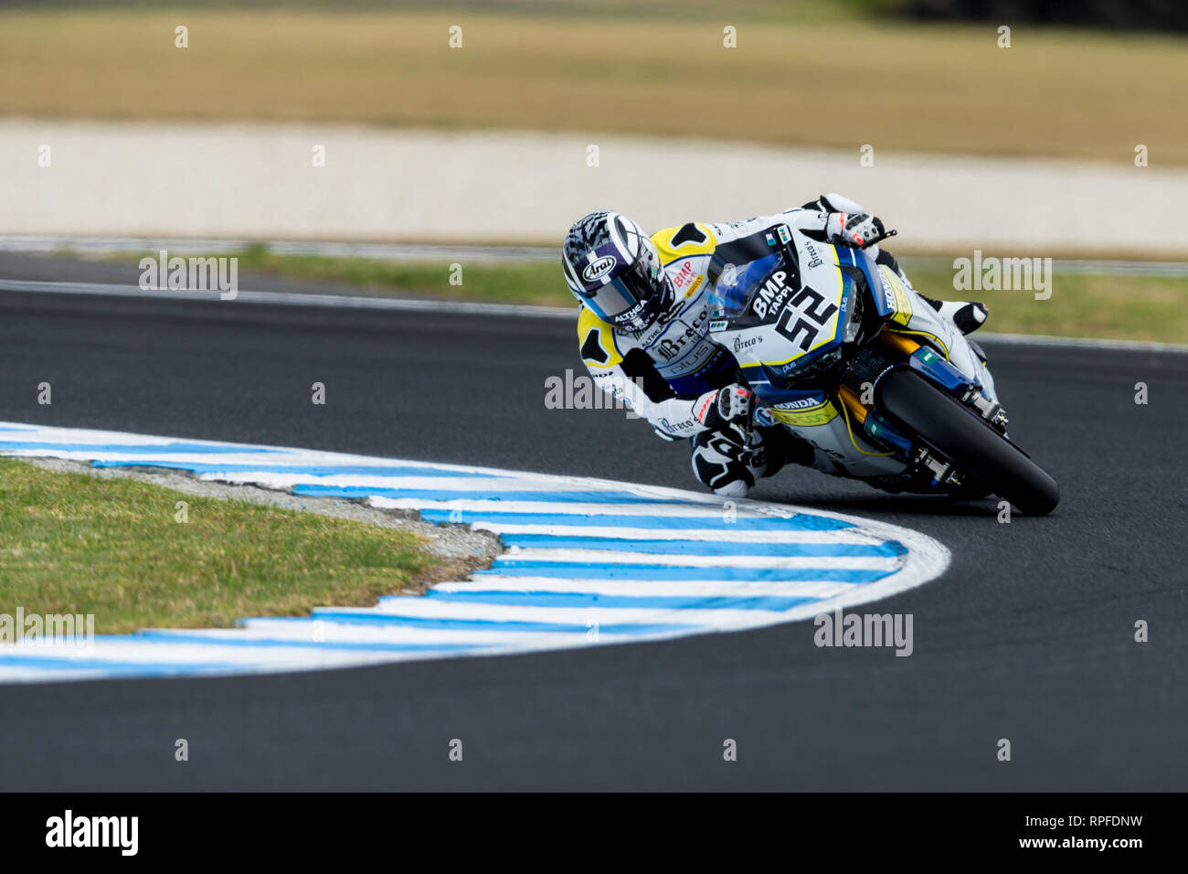 Phillip Island, Victoria, Australia. 22nd Feb, 2019. World Superbikes Championship, Friday free practice; The number 52 Althea Mie Racing Team Honda ridden by Alessandro Delbianco in Free Practice 1 Credit: Action Plus Sports/Alamy Live News Stock Photo