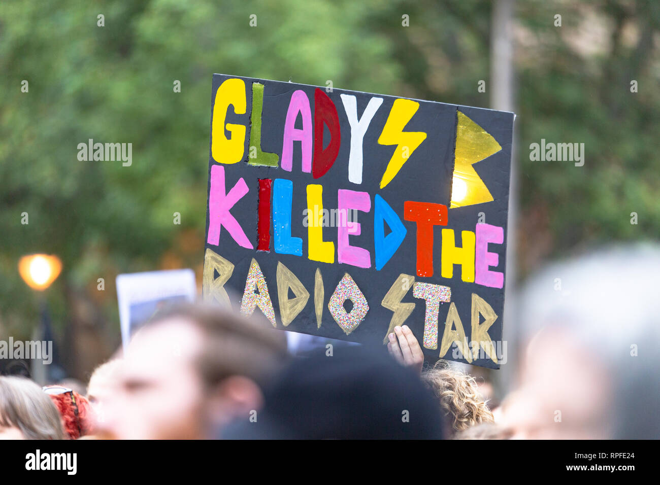A protest placard against Premier of New South Wales Gladys