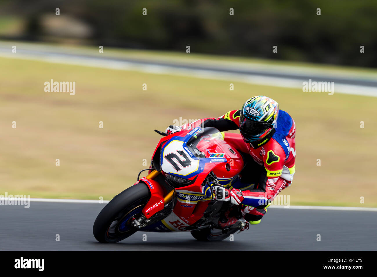 Phillip Island, Australia. 22nd Feb, 2019. World Superbikes Championship, Friday free practice; The number 2 Moriwaki-Althea Honda Racing Team Honda ridden by Leon Camier during Free Practice 2 Credit: Action Plus Sports/Alamy Live News Stock Photo
