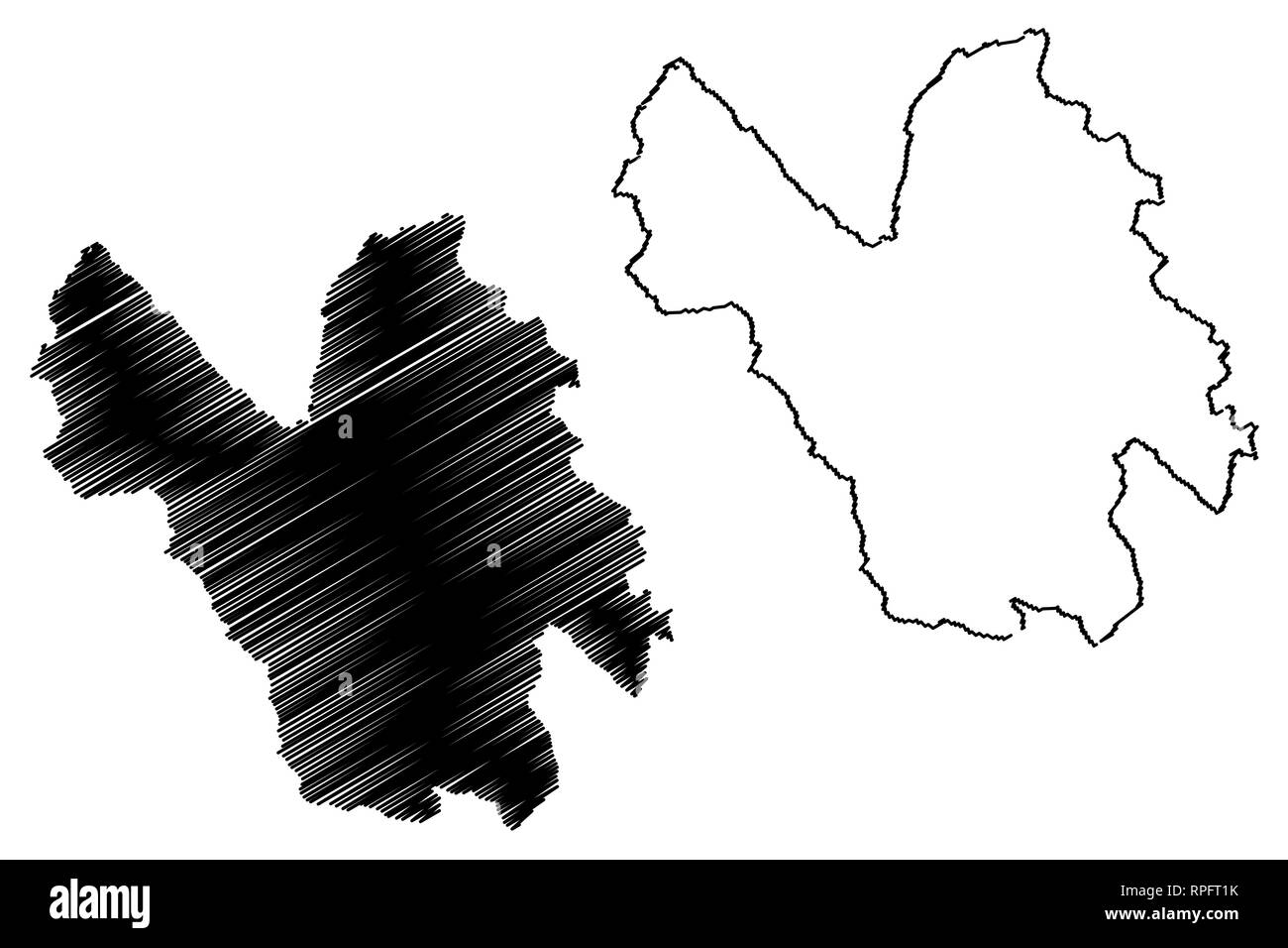 Lao Cai Province (Socialist Republic of Vietnam, Subdivisions of Vietnam) map vector illustration, scribble sketch Tinh Lao Cai map - Stock Vector