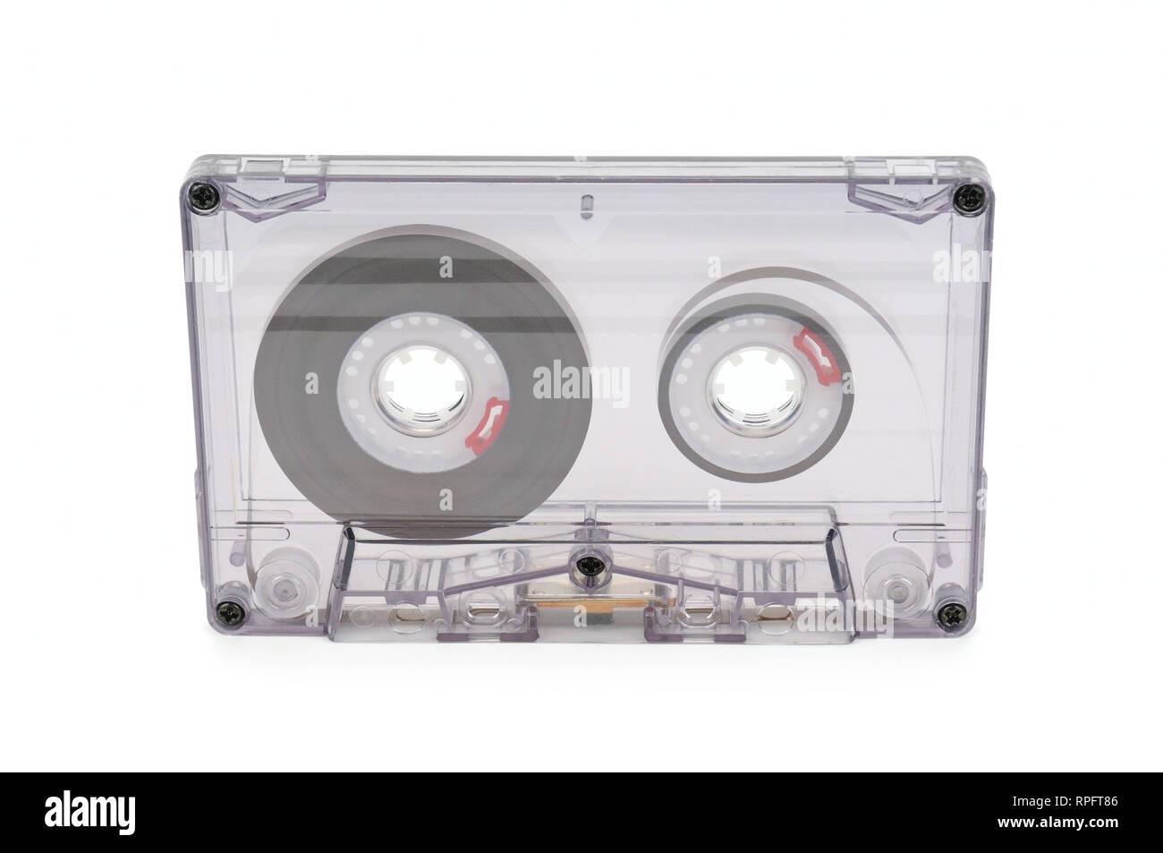 audio tape isolated on white background - Stock Image