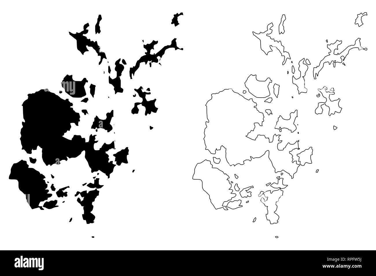 Orkney Islands (United Kingdom, Scotland, Local government in Scotland) map vector illustration, scribble sketch Orkney (Northern Isles) map - Stock Vector